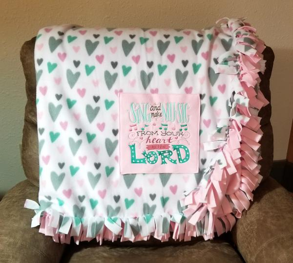 Large Hearts Embroidered Fleece Tied Blanket with Embroidered Religious Verse