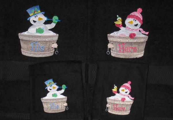 HIS and HERS Snowmen in a Tub 4 Piece Bath and Hand Towel Set