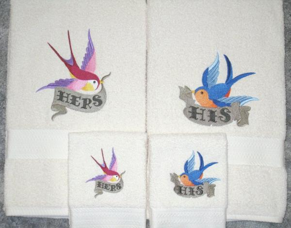 Colorful Swallows 4 pc Bath and Hand Towel set