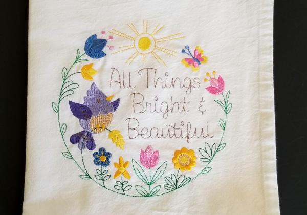 All Things Bright and Beautiful  Extra Large Flour Sack Towels