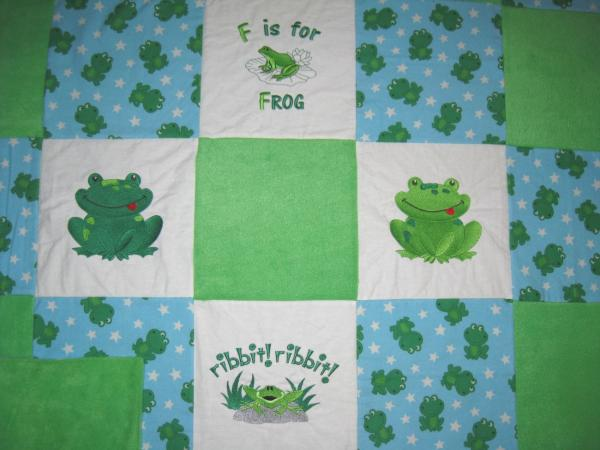 CUTE FROG Embroidered Soft Flannel Blanket