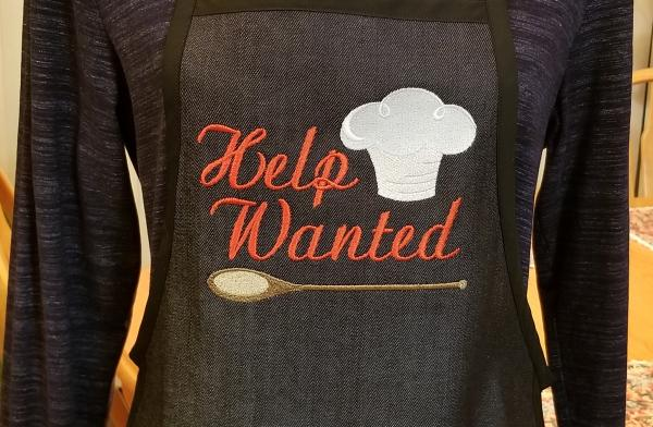 HELP WANTED Embroidered Denim Apron - Cooking, Grilling All Occasions Gift for a Young Cook or Apprentice Chef