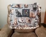Large Beautiful Kitty Fleece Tied Blanket Realistic Cats in tan, gray, and black colors Fleece Throw Cat Lover Blanket