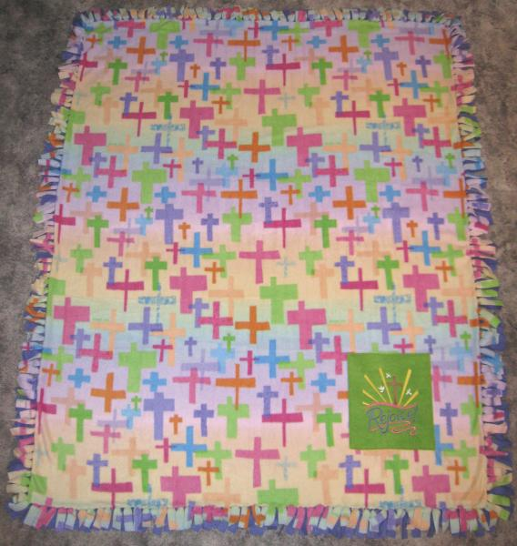Large CROSSES and BIBLE Embroidered Fleece Tied Blanket Rejoice Cross Scripture Fleece Tie Throw picture