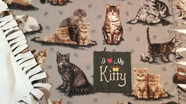 Large Beautiful Kitty Fleece Tied Blanket Realistic Cats in tan, gray, and black colors Fleece Throw Cat Lover Blanket picture