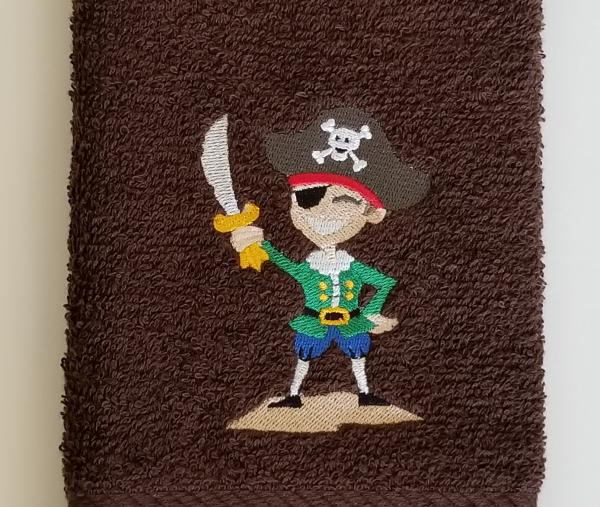 Pirate Embroidered Hand Towel