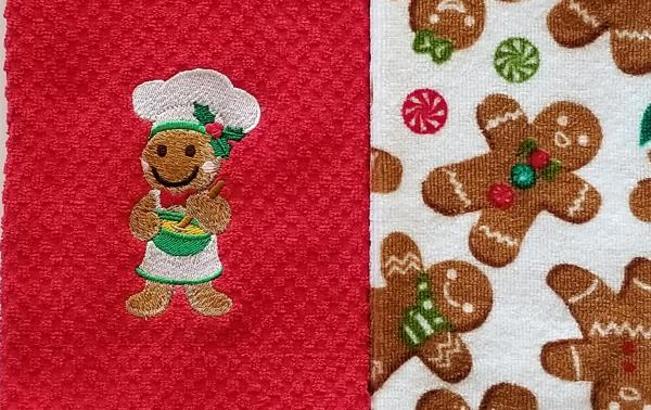 Christmas Gingerbread Man Kitchen Hand Towel Set