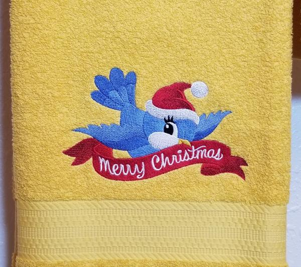 Merry  Christmas Bluebird Towels picture