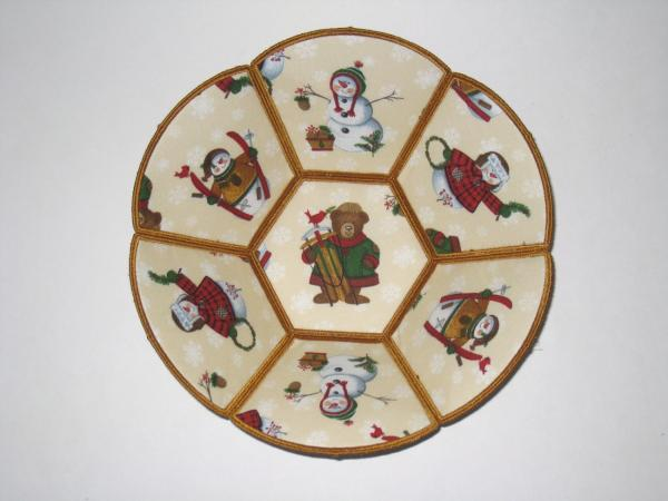 Traditional Snowmen Christmas Decorative Fabric Bowls