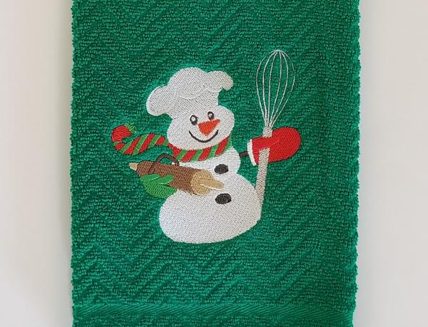 Christmas Baking Snowman Kitchen Hand Towel