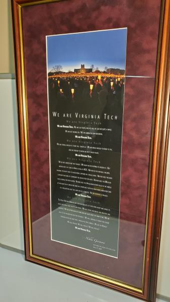 VT Poem- professionally framed
