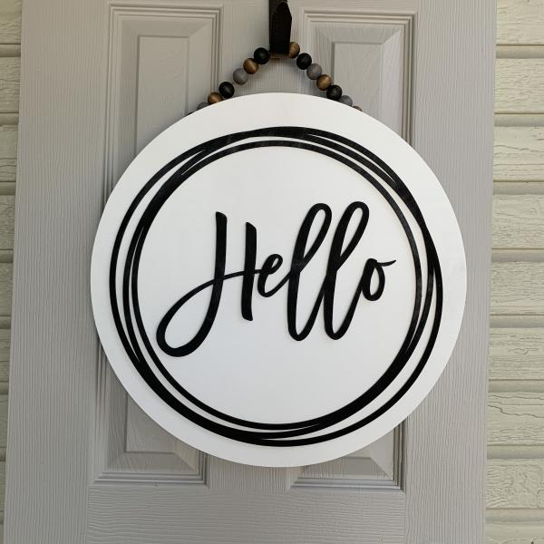 Hello round Door sign With scribble circle