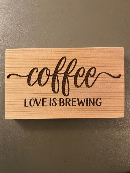 Small Wood Block Plaque - Coffee