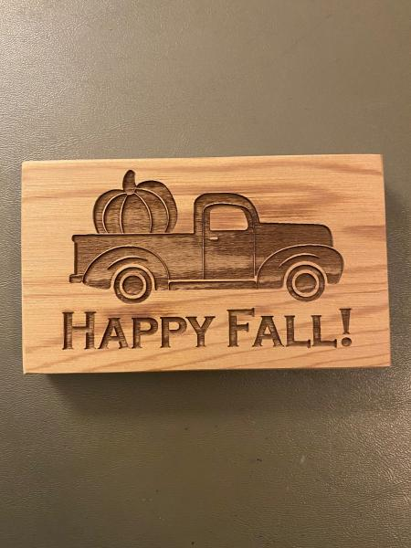 Small Wood Block Plaque - Fall Truck