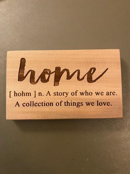Small Wood Block Plaque - Home Definition
