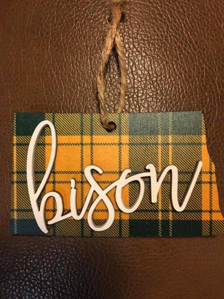 Ornament - Plaid State ND Bison
