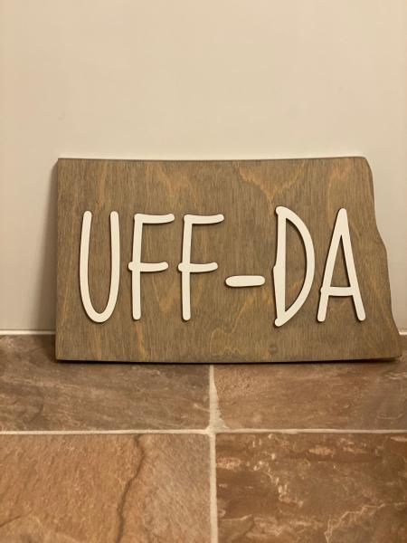 Wood Plaque - ND UffDa (grey stain)