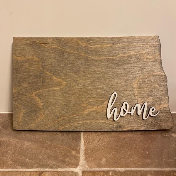 Wood Plaque - ND Home (grey stain)