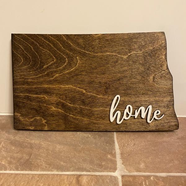 Wood Plaque - ND Home (dark brown stain)