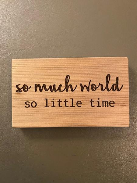 Small Wood Block Plaque - So Much World