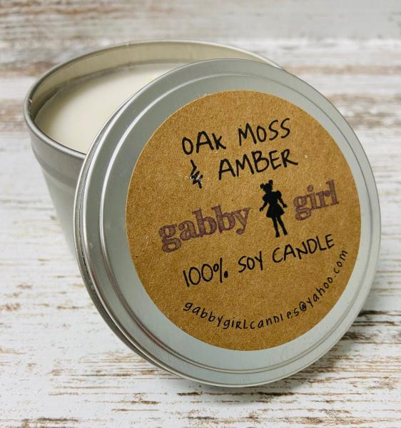 Oak Moss & Amber Scented Soy Candle (8oz)