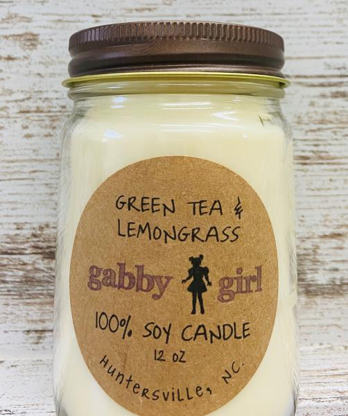 Green Tea & Lemon Grass Scented Soy Candle (12oz Jar)