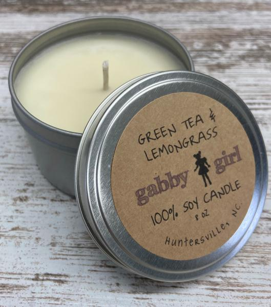 Green Tea & Lemon Grass Scented Soy Candle (8oz)
