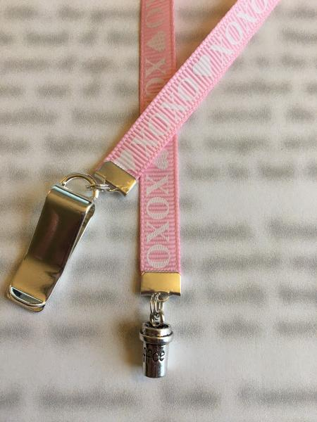 Coffee bookmark / Coffee Lover bookmark  - Attach clip to book cover then mark the page with the ribbon. Never lose your bookmark!