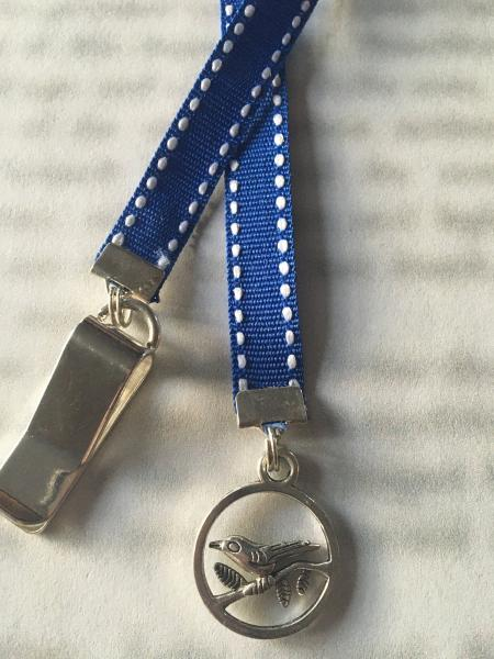 Blue Bird bookmark / BIrd Bookmark / Dove Bookmark - Clip to book cover then mark page with ribbon. Never lose your bookmark!