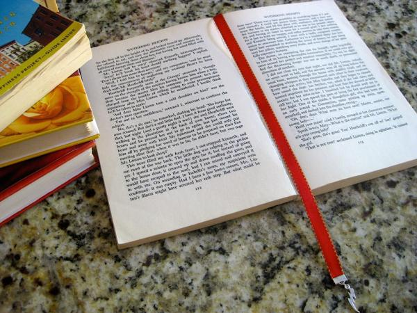 Teapot bookmark / Teacup bookmark  - Attach clip to book cover then mark the page with the ribbon. Never lose your bookmark! picture