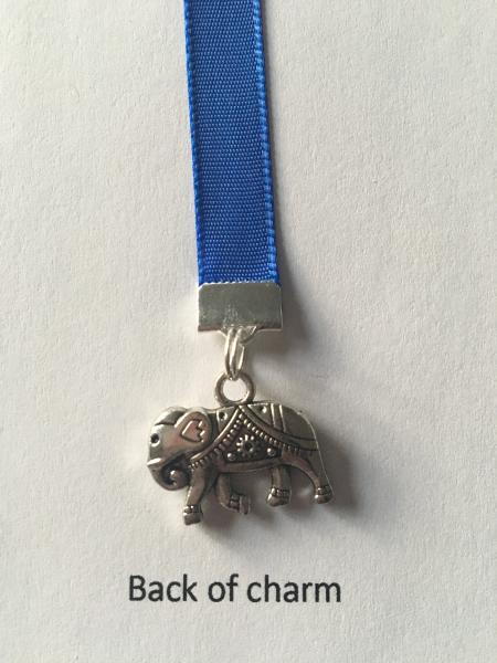 Elephant bookmark / Lucky Elephant Bookmark -Attach clip to book cover then mark page with ribbon. Never lose your bookmark! picture