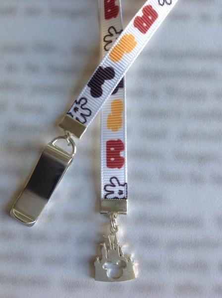 Castle bookmark, Disney Bookmark, Mickey Mouse bookmark, Magic Kingdom - Attach clip to book cover then mark page with the ribbon.