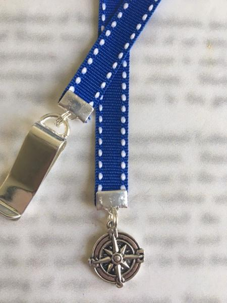 Nautical bookmark / Anchor Bookmark / Boating Compass Rose  - Clips to cover, mark page with ribbon. Never lose the bookmark