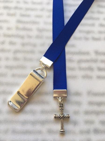 Cross Bookmark, Christian Bookmark, Faith bookmark, Religious bookmark, Bible Bookmark - Clip to book cover then mark page with ribbon