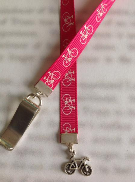 Bicycle bookmark / Bike bookmark / Cyclist bookmark - Attach clip to book cover then mark page with ribbon.