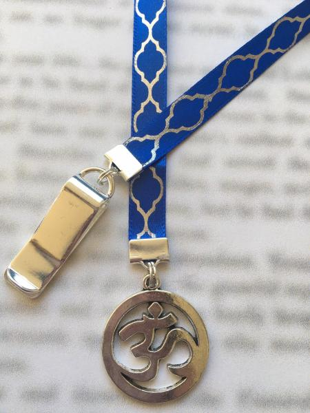 Yoga Bookmark, Om Bookmark, Aum Bookmark, Meditation bookmark  - Clips to book cover, then mark page with ribbon. Never lose your bookmark!