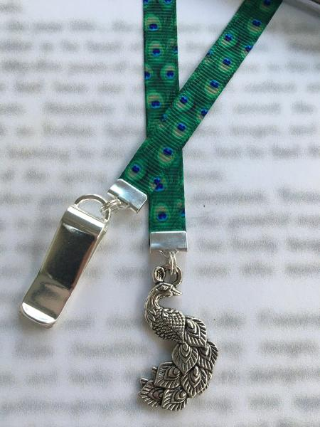 Peacock bookmark / Cute Bookmark / Book Lover gift - Clips to book cover then mark page with ribbon. Never lose your bookmark!