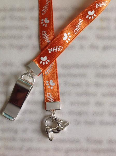 Cat Bookmark / Kitten / Cat Lover bookmark  - Clip to book cover then mark page with ribbon. Never lose your cute bookmark! picture