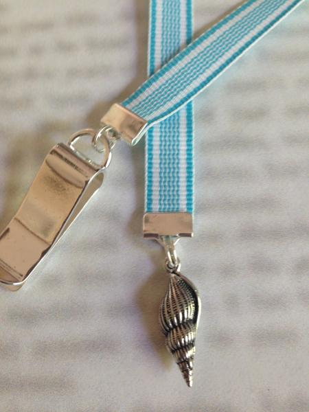 Seashell Bookmark / Beach Lover Bookmark  - Clip to book cover then mark page with ribbon. Never lose your bookmark!