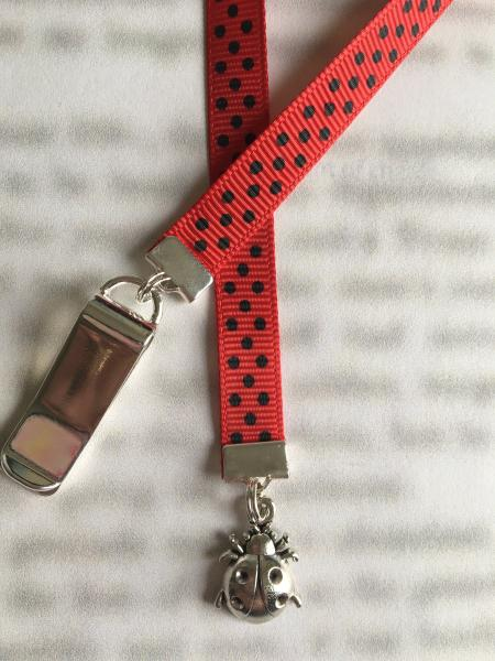 Ladybug Bookmark / Cute bookmark - Attach to book cover then mark page with ribbon. Never lose your bookmark! picture