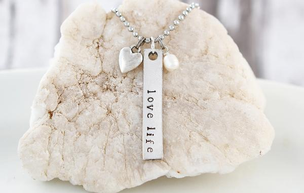 Love Life Hand Stamped Necklace