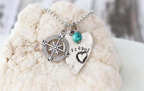 Travel Hand Stamped Heart Necklace picture