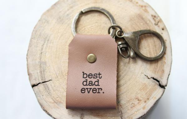 Best Dad Ever Leather Keychain