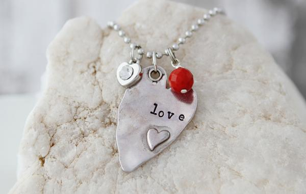 Love Hand Stamped Necklace