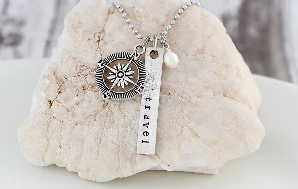 Travel Hand Stamped Necklace