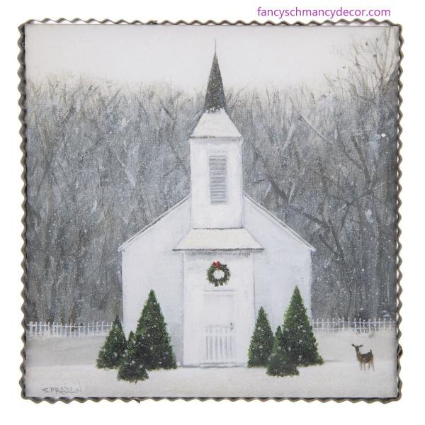 Wintry Church Print by The Round Top Collection picture