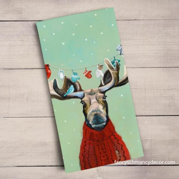 Holiday - Moose In Sweater Tea Towel