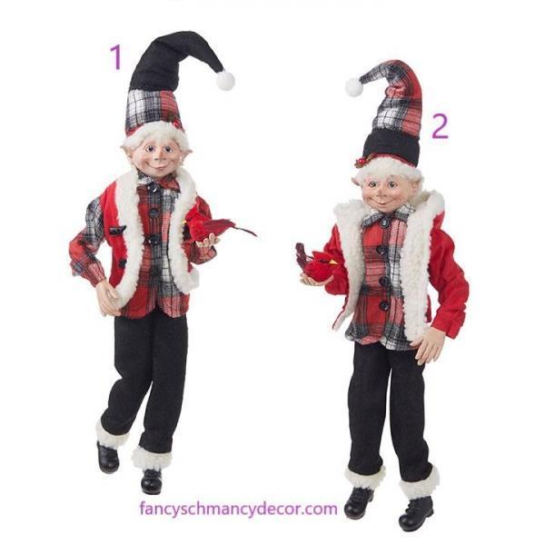 "16"" Plaid Posable Elf Assorted Set of 2 by RAZ Imports"