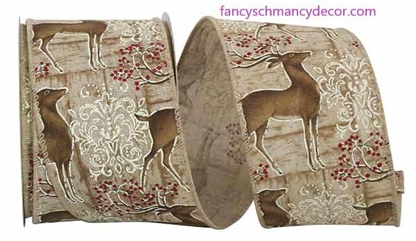 "2.5"" x 10 yds Deer Filigree Natural Wired Edge Ribbon picture"
