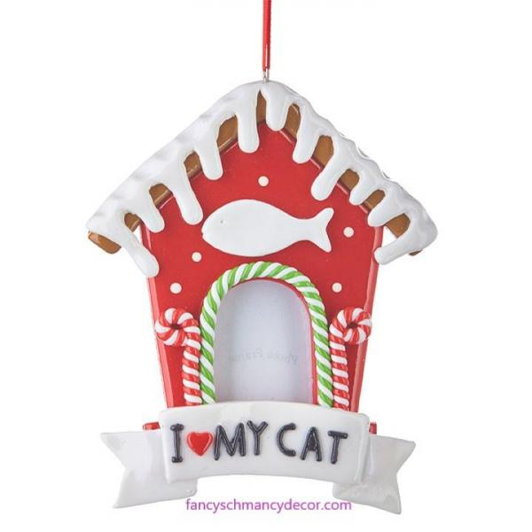"5.5"" Gingerbread Cat House Frame Ornament by RAZ Imports"